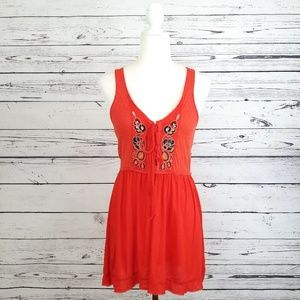 Free People red sleeveless beaded lace up top